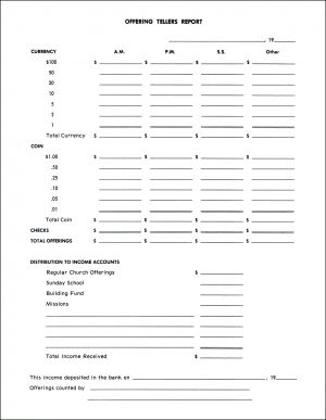 Treasurer's Offering Teller Report - Pkg. of 52