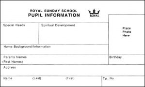 Royal Sunday School Pupil Information Cards - Pkg. of 100