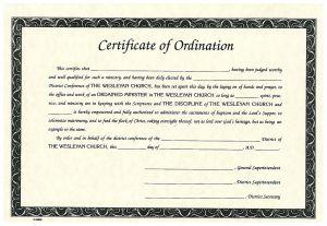 Certificate of Ordination - Parchment