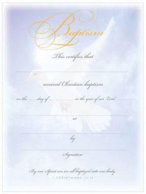 Baptism Certificate 1 Cor. 12:13 (Pkg 6)