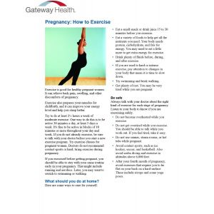 Healthwise - Pregnancy How to Exercise