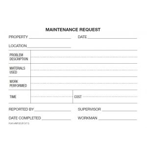 Maintenance Request NCR Form