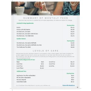Zionsville Meadows Assisted Living - Summary of Monthly Fees